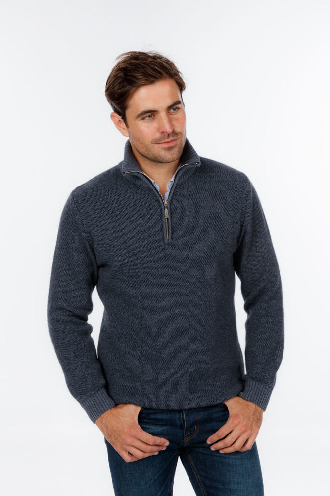 Picture of Textured Half Zip Sweater