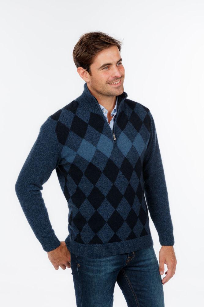 Picture of Diamond Half Zip Sweater